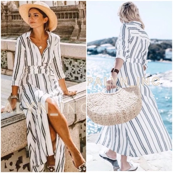 d3b3467c Zara Dresses | Long Flowing Striped Tunic Dress Shirt Dress | Poshmark